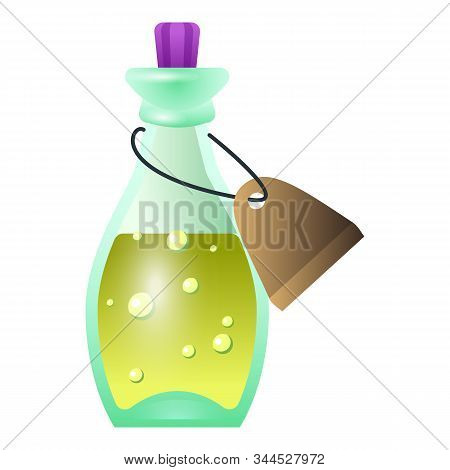 Potion With Paper Tag Icon. Cartoon Of Potion With Paper Tag Vector Icon For Web Design Isolated On