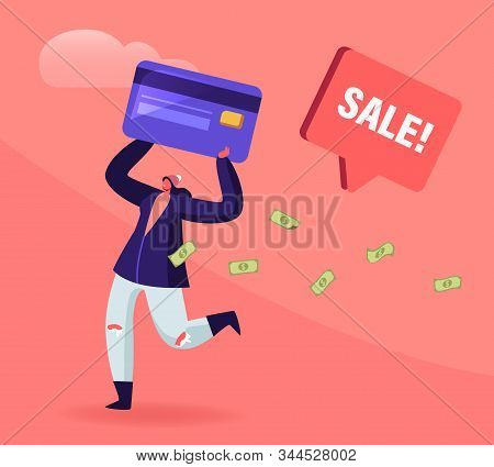 Total Sale And Festive Discount Concept. Tiny Female Character Holding Huge Credit Card With Money B