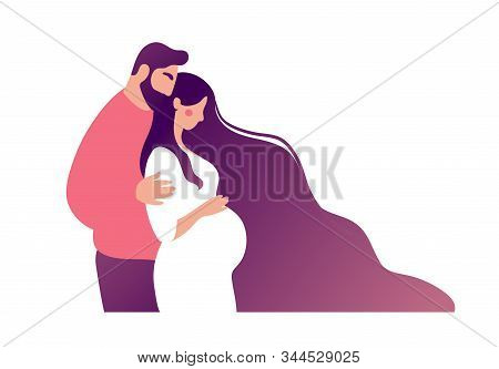 A Man Hugs A Woman Awaiting The Birth Of A Child. Concept Illustration About Pregnancy, Motherhood,