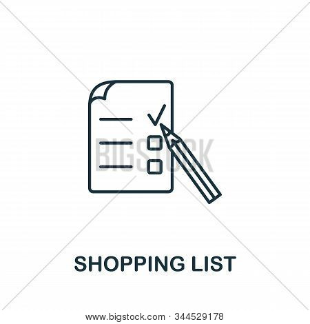 Shopping List Icon. Line Style Symbol From Shopping Icon Collection. Shopping List Creative Element