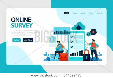 Landing Page Online Survey. Satisfaction Feedback, Review Form Service, Exams Choices Flat Character