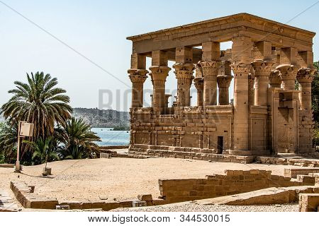 The Temple Of Isis From Philae At Its Current Location On Agilkia Island In Lake Nasser, Egypt.