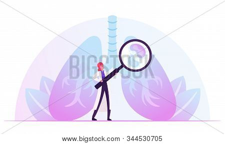 Respiratory Medicine, Healthcare And Pulmonology Concept. Doctor Checking Human Lungs With Magnifyin