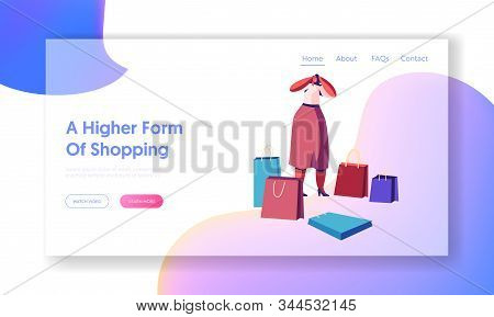 Girl Shopper In Store Website Landing Page. Woman Shopaholic With Shopping Bags Holding Head Frustra