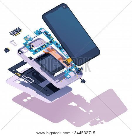 Vector Isometric Disassembled Smartphone. Modern Smartphone Exploded View. Phone Disassembly, Teardo