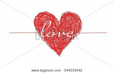Bright Red Complicated Lined Heart With Love Word, Mess Of Multicolor Lines, Chaos Of Feelings Conce