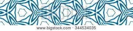 Blue Handdrawn Seamless Border Scroll. Geometric Watercolor Frame. Artistic Seamless Pattern. Medall