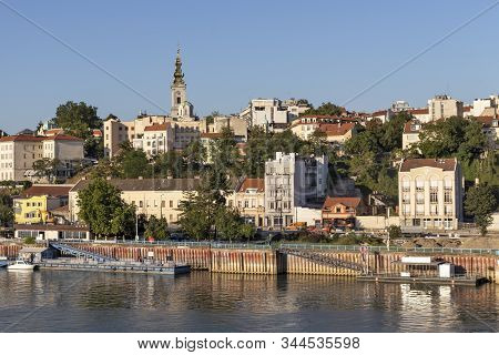 Belgrade, Serbia - August 12, 2019: Panoramic View From Branko Bridge To Old Town (stari Grad) Of Ci