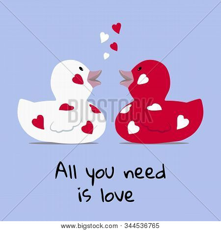Valentines Day Greeting Card A Cute Couple Of Bath Rubber Ducks Facing Each Other With Floating Hear