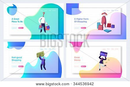Happy People Shopaholics Shopping Recreation Website Landing Page Set. Sale And Discount Promotion A