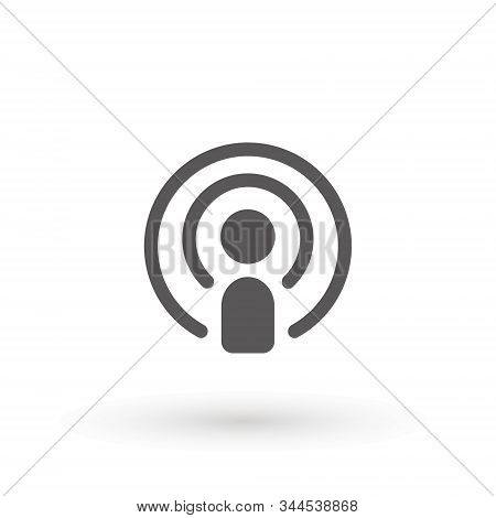 Podcast Icon Flat Design. Podcast Icon. Broadcasting Illustration As A Simple Vector Sign Trendy Sym