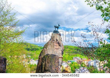 Chamois Statue Socha Kamzika At Deer Jump Jeleni Skok Lookout With Karlovy Vary (carlsbad) Colorful