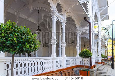 The Market Colonnade Trzni Kolonada Wooden Colonnade With Hot Springs In Karlovy Vary Town Carlsbad