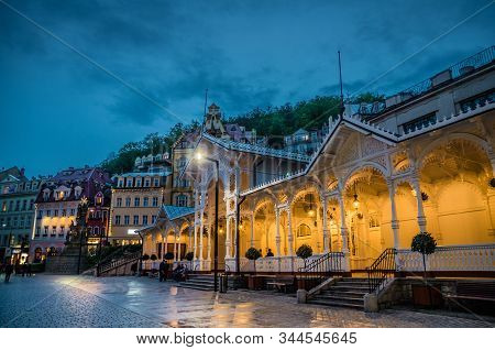 The Market Colonnade Trzni Kolonada Wooden Colonnade With Lights And Hot Springs In Town Karlovy Var