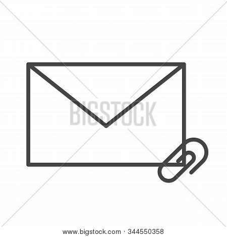Mail Attachment Line Icon Vector Isolated. Envelope And Clip