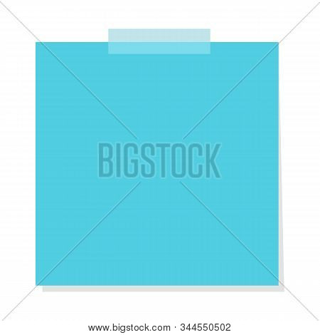 Colorful Blue Note Sheet. Vector Isolated Notepaper. Office
