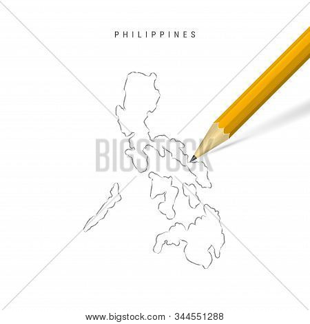 Philippines Sketch Outline Map Isolated On White Background. Empty Hand Drawn Vector Map Of Philippi