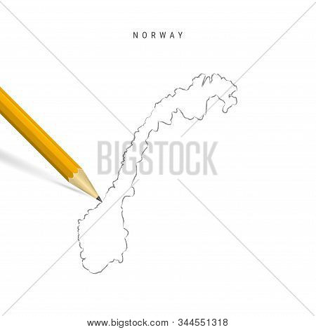 Norway Sketch Outline Map Isolated On White Background. Empty Hand Drawn Vector Map Of Norway. Reali