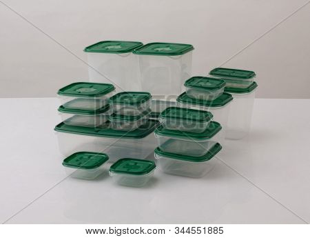 Set Of Plastic Boxes Isolated On White Background