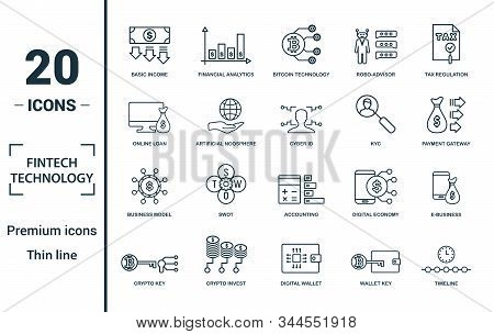 Fintech Technology Icon Set. Include Creative Elements Basic Income, Bitcoin Technology, Online Loan
