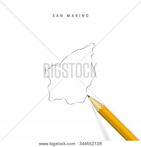 San Marino Sketch Outline Map Isolated On White Background. Empty Hand Drawn Vector Map Of San Marin