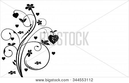 Floral Ornament Design With Heart And Flower, Floral Swirl Design, Illustration With Black Flower An
