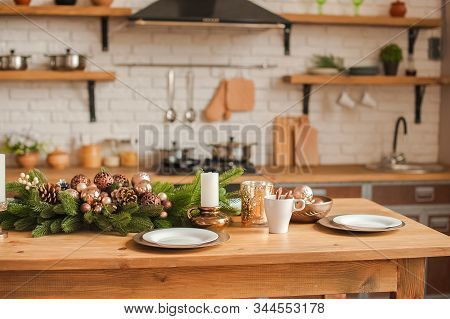 Christmas Kitchen Decor And Copy Space. Rustic Cuisine At Christmas. Details Of Scandinavian Cuisine
