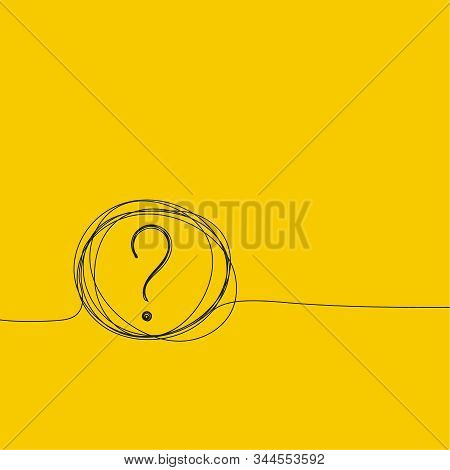 Question Mark Hand Drawn Doodle Icon. Quiz Symbol Insane Tangled Scribble. Faq Sign On Yellow Backgr