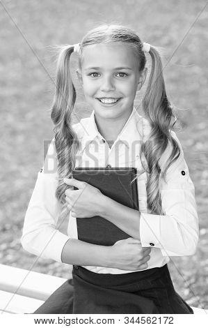 Schoolgirl In Classy Retro Uniform Read Book. Old School. Back To School. Classy Uniform Makes Smart