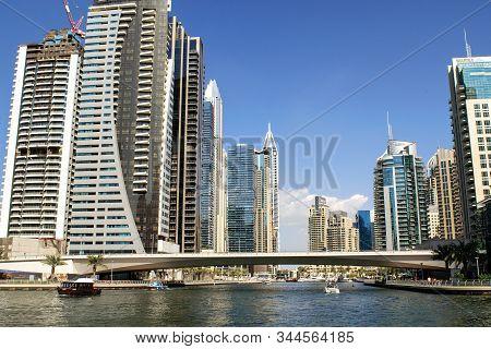 Dubai / Uae - November 11, 2019: Dubai Marina Luxury Touristic District With Marina. Dubai Marina.