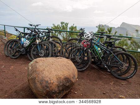 Ponta De Sao Lourenco, Madeira, Portugal - April 19, 2018: Mountain Bikes On The Viewpoint At The Po
