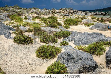 Elafonisi Island Located Close To The Southwestern Corner Of The Mediterranean Island Of Crete, Gree