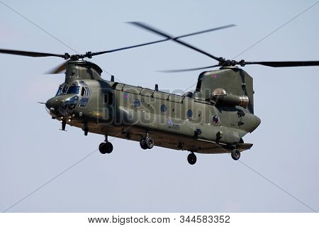 Fairford / United Kingdom - July 12, 2018: Royal Air Force Ch-47 Chinook Hc6 Zh891 Transport Helicop