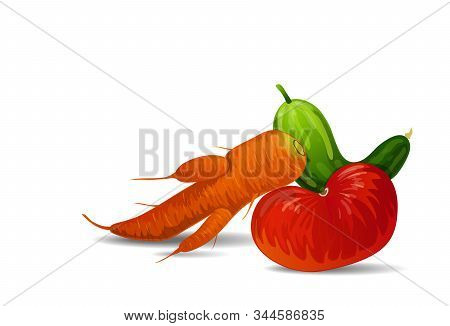 Vector Illustration Of Fashionable Ugly Organic Tomato, Carrot And Cucumber Isolated On White Backgr