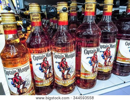 Samara, Russia - January 12, 2020: Captain Morgan Rum Ready For Sale On The Shelf In Superstore