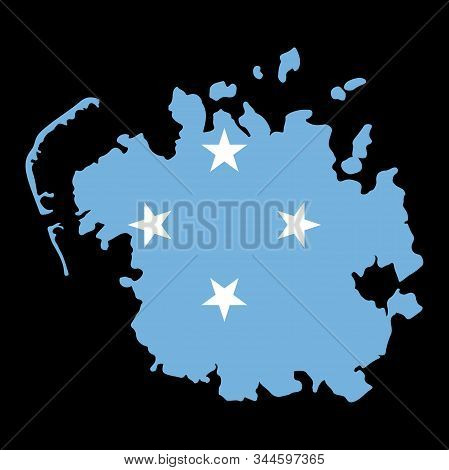 Federated States Of Micronesia Map Flag Vector Illustration Eps 10.