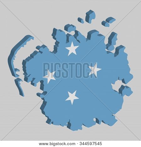 Federated States Of Micronesia Map Flag Vector 3d Illustration Eps 10.