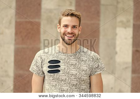 Perfect Smile Of A Cheerful Guy. Happy Guy On Urban Outdoor. Bearded Guy Smiling In Casual Summer St