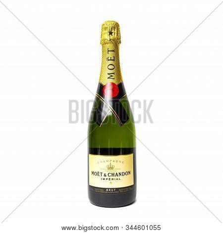 Sankt-petersburg, Russia - December 30, 2019: Bottle Of Moet & Chandon Champagne. Studio Shot Isolat