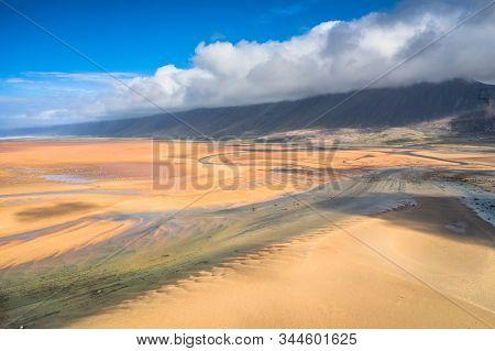Raudasandur Or Red Sandy Beach In The Westfjords Of Iceland