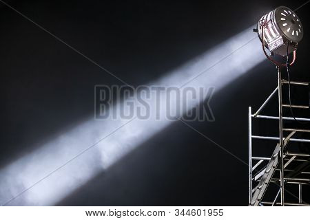 Strong And Focused Diagonal Light Ray From A Movie Lighting Spotlight