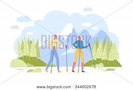 Pensioners Scandinavian Walking At Mountains. Senior People Active Lifestyle Hiking With Sticks In H