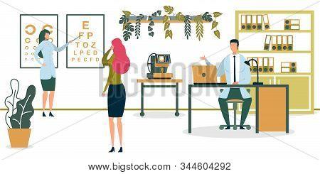 Doctor Checking Eyesight For Eyeglasses Flat Cartoon Vector Illustration. Oculist Or Ophthalmologist