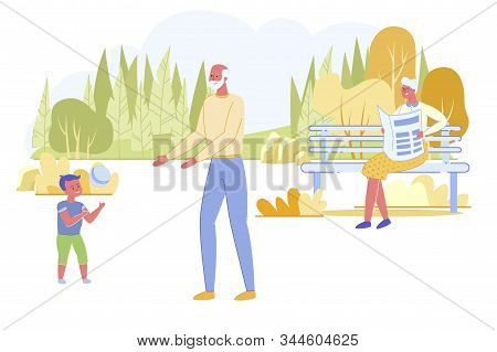 Family Holidays. Little Cheerful Boy Playing Ball With Grandfather, Grandmother Reading On Bench In
