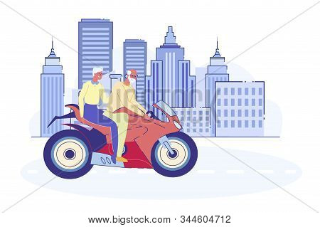 Senior Characters Driving Fast On Scooter. Adorable Couple Of Cheerful Seniors Riding Motorbike, Man
