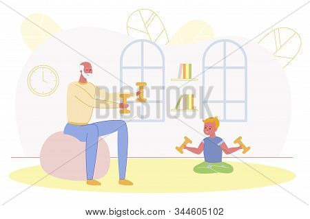 Happy Family Sport Activity. Grandfather And Grandson Morning Exercising At Home. Senior Man And Boy