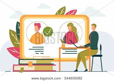 Online Recruitment And Job Remote Candidates Interviewing. Employer Or Businessman Cartoon Character