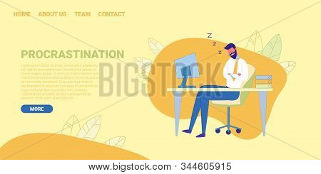 Clerk Or Office Worker Is Sleeping At Workplace Desk During Working Day Flat Cartoon Banner Vector I