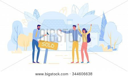 Responsive Realtor In Suit Standing With Happy Young Married Couple Owner Outdoors Near Facade Holdi