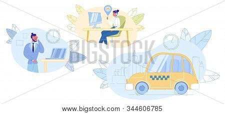 Call Taxi Service. Man Holding Mobile Phone And Booking Cab. Connection Between Woman Dispatcher And